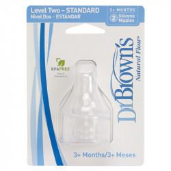 DrBrown's™ θηλές επίπεδο 2 στενός λαιμός, σετ των 2