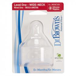 DrBrown's™ θηλές μπιμπερό με φαρδύ λαιμό 0-3M, σετ των 2