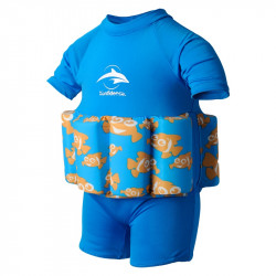 Σωσίβιο - ολόσωμο μαγιό Konfidence™ Floatsuit Cyan Clownfish 1-2 ετών