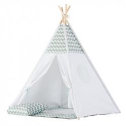 Παιδική σκηνή δωματίου WigiWama Teepee Set Mint - Grey Chevron