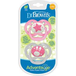 DrBrown's™ πιπίλες νύχτας Advantage™ 6-18M, σετ των 2