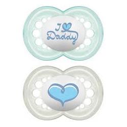 MAM πιπίλα Ι Love Mommy & Daddy 6Μ+, σετ των 2