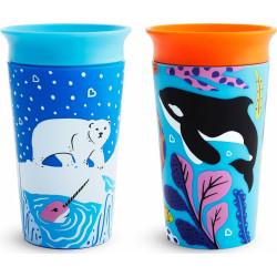 Munchkin κύπελο Miracle® 360° WildLove Sippy Polar Bear / Orca 266 ml σετ των 2