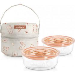 Miniland σετ γυάλινα δοχεία φαγητού Naturround Bunny 300 ml και ισοθερμική θήκη
