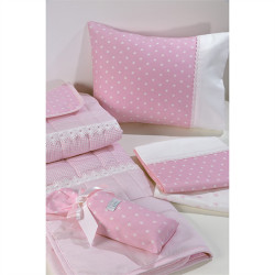 Σεντόνια DOWN TOWN BABY Star White - Pink 125 x 175 cm σετ των 3