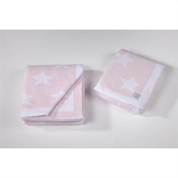Κουβέρτα DOWN TOWN BABY Star Pink - White 90 x 120 cm