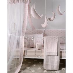 Σεντόνια DOWN TOWN BABY Star Grey - Pink 125 x 175 cm σετ των 3