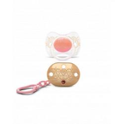 Suavinex σετ πιπίλα Premium Physiological και κλιπ Haute Couture Pink 4-18Μ