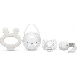 Suavinex σετ δώρου Hygge Baby Set Grey με πιπίλα Premium Physiological 0-6Μ