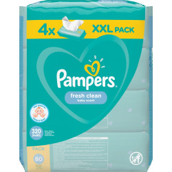 Pampers® μωρομάντηλα Fresh Clean XXL Pack 4 πακέτα 80 τεμαχίων