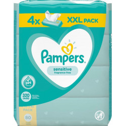 Pampers® μωρομάντηλα Sensitive  XXL Pack 4 πακέτα 80 τεμαχίων
