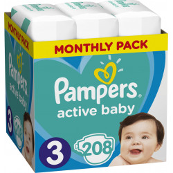 Πάνες monthly pack Pampers® Active Baby-Dry No 3 (5-9 kg) 208 τεμάχια