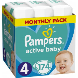 Πάνες monthly pack Pampers® Active Baby-Dry No 4 (8-14 kg) 174 τεμάχια